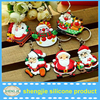 Soft pvc keychain Double sided rubber key chain christmas santa