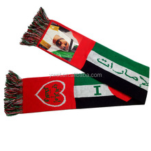UAE Red Printed Countries Fans Tassel Scarf