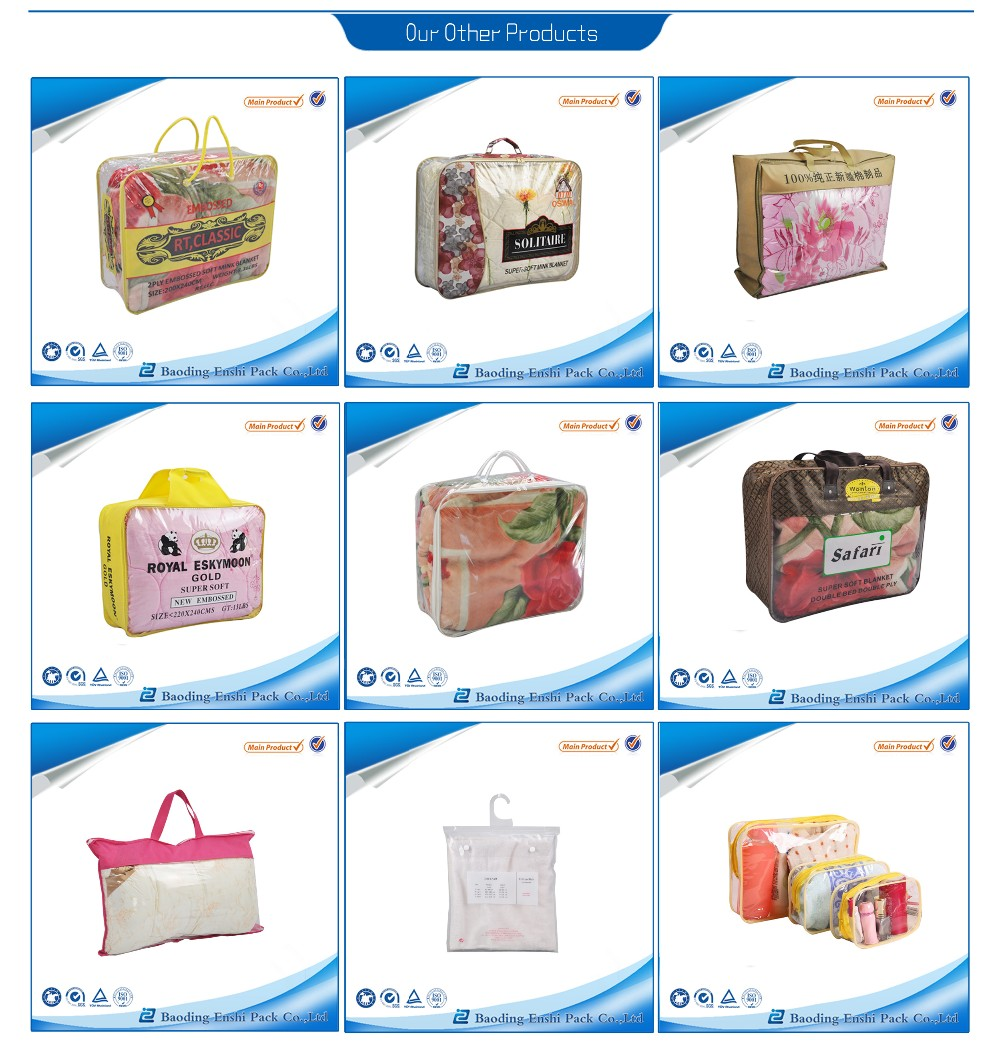 plastic covers with zipper vinyl pillow bag