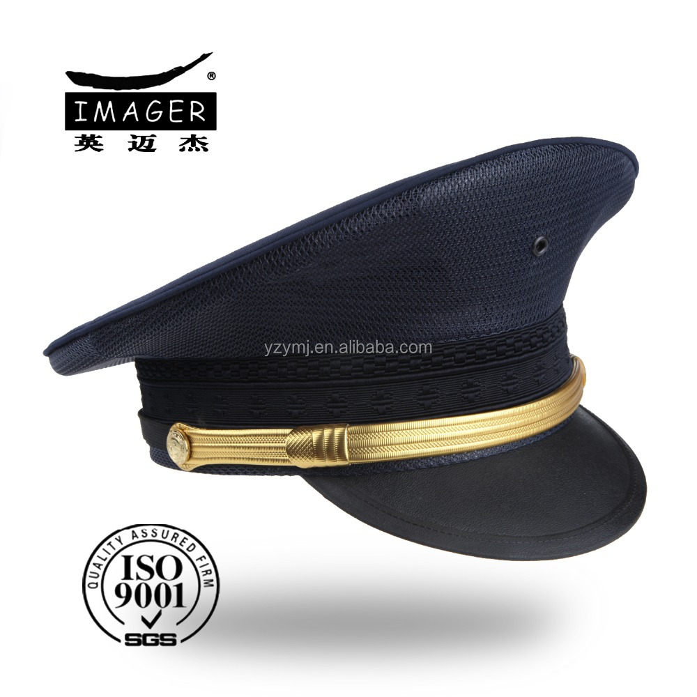 High quality customized embroidered air force captain peaked cap with gold strap