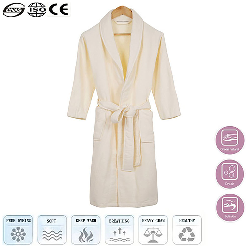 (One Size Fit All) White Denim Flannel Bathrobe Home Hotel Cotton Long Elegant Robes