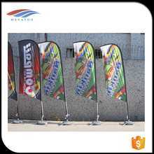Custom teardrop bow promotional cheap made flags feather beach flag with CE certificate