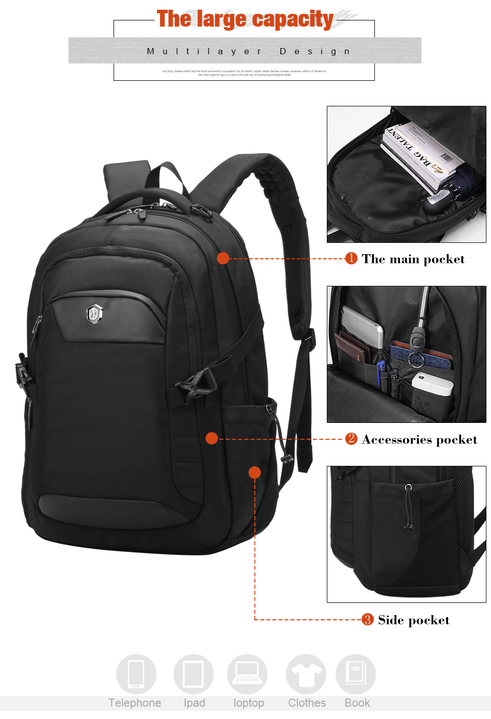 AOKING Manufacturers Multifunctional Polyester Laptop Business carry on backpack wholesale morrales