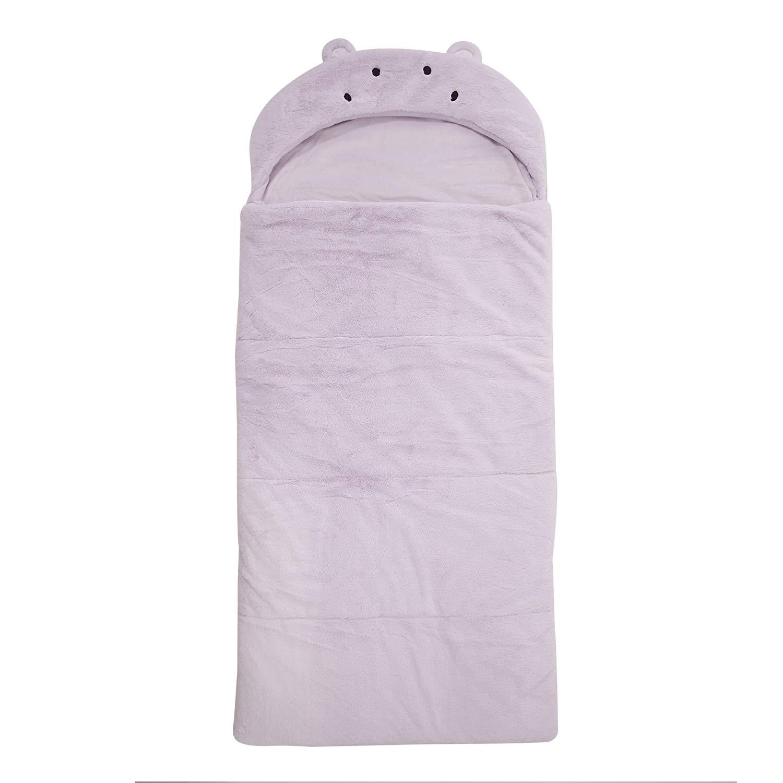 438129428b Get Quotations · Best Home Fashion Plush Faux Fur Hooded Hippo Animal  Sleeping Bag - Lavender - 27