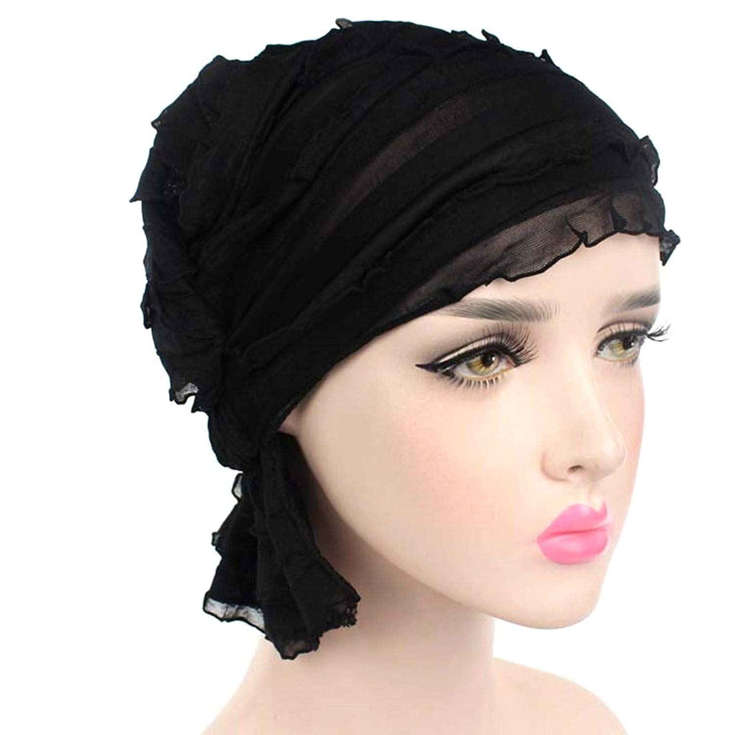 70b457470fa Get Quotations · Cugap Ruffle Trinity Turban Caps for Women with Chemo  Cancer Hair Loss
