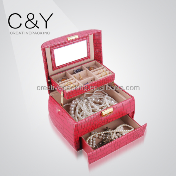 Portable travel pu leather travel jewelry display case