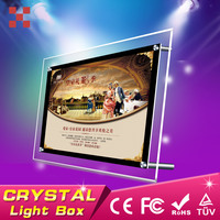 A5 table stand crystal light box,crystal acrylic photo frame,crystal glass led light box