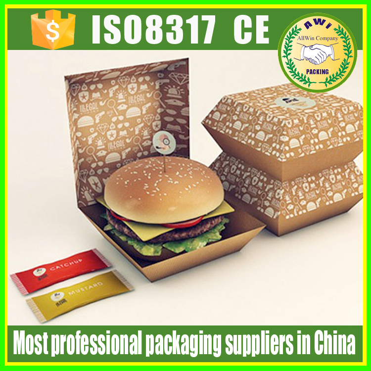 Disposable cardboard burger box/paper meal boat tray box/bento box hamburger packaging