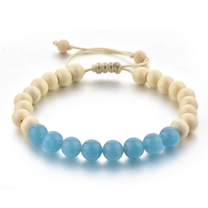 Blue Style Adjustable Men Rope Braided Bracelet Raw Wood Beads Sapphire Stone Jewellery Fashion