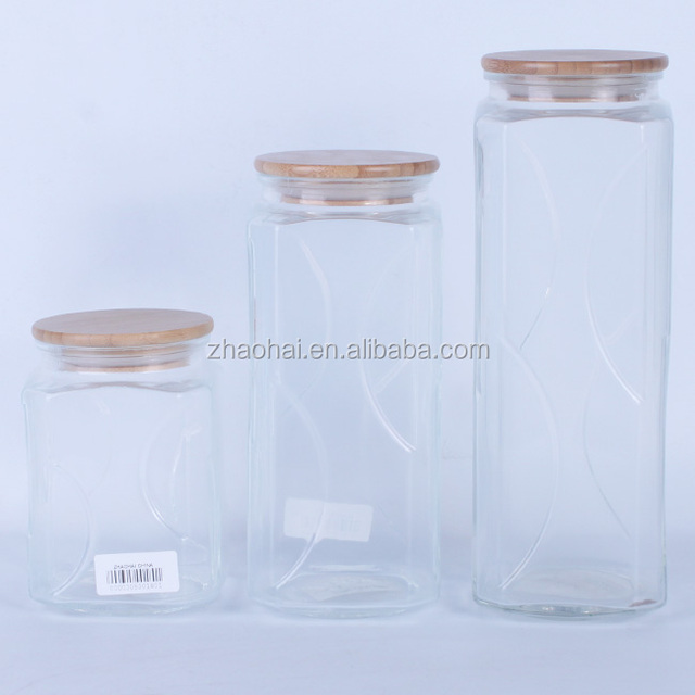 Airtight Herb Glass Storage Jar With Rubber Seal Wood Lid