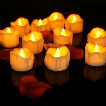 Drop Tear Battery Operated Tea Lights Led Flickering Candles With