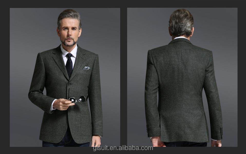 Super 150's Wool Cashmere Notch Lapel Dark Green Three Buttons ...
