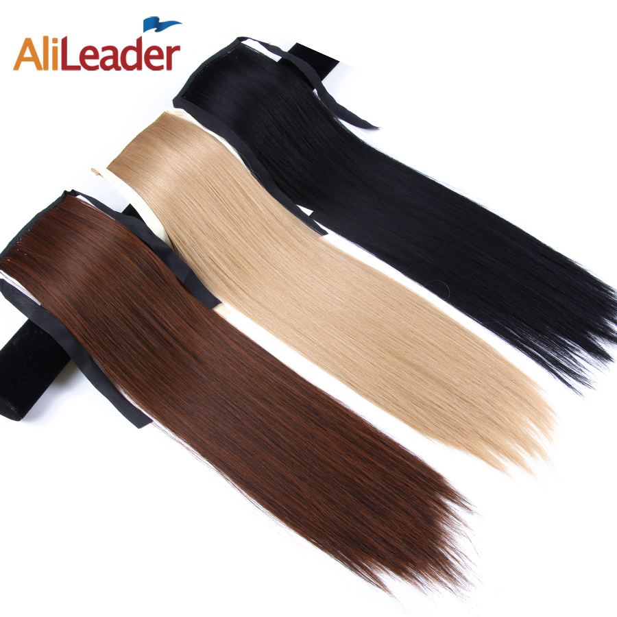 AliLeader Wholesale 18 Inch Silky Straight Natural Ponytail Hair Pure Color Clip In Ponytail Natural Synthetic Hair Extensions