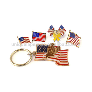 Patriotic gold metal lapel pins Keychain American eagle flags custom lapel pins dropshipping