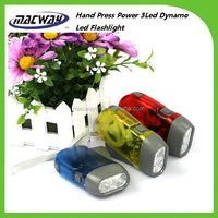 Promotion outdoor 3 led hand crank dynamo torch flashlight for gift