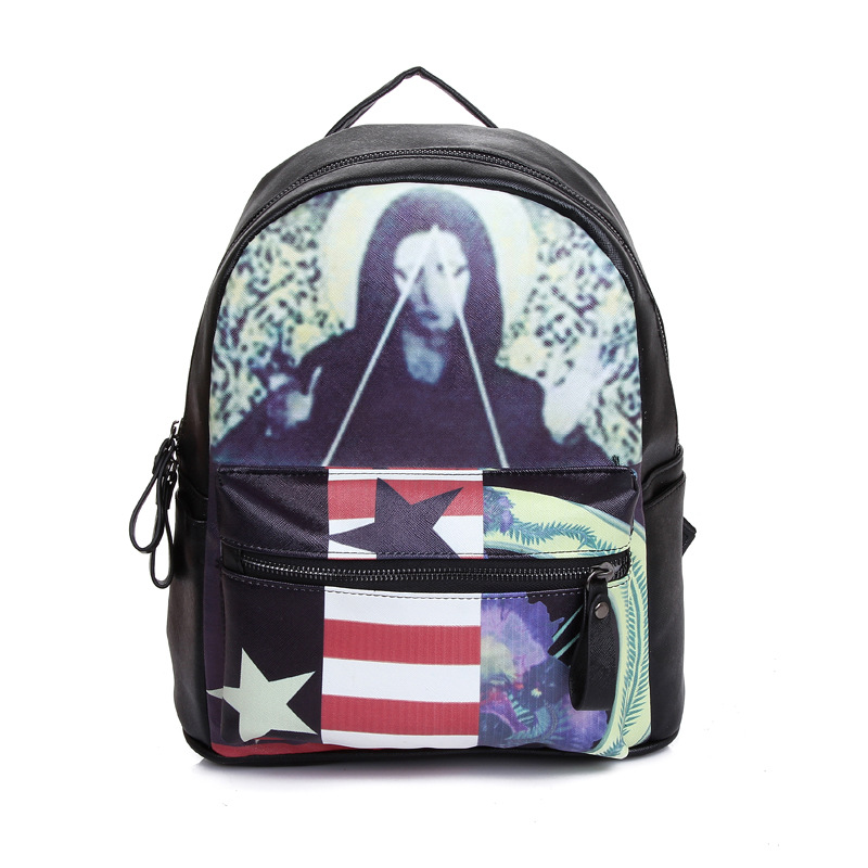 Best Selling ghost personality fashion casual pu leather Backpacks,jumby printed mini backpacks,student bag travel school bag