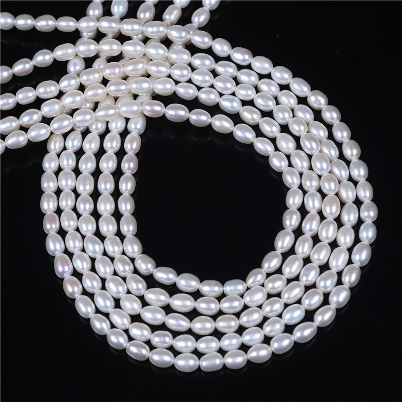 4-5mm White loose pearl freshwater strand loose real rice pearl bead