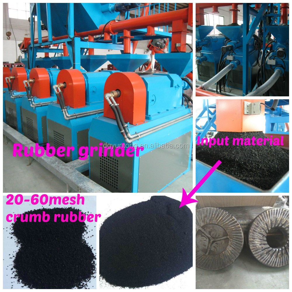 Scrap tires recycling rubber powder crumb rubber grinding machine with anti-abration special discs