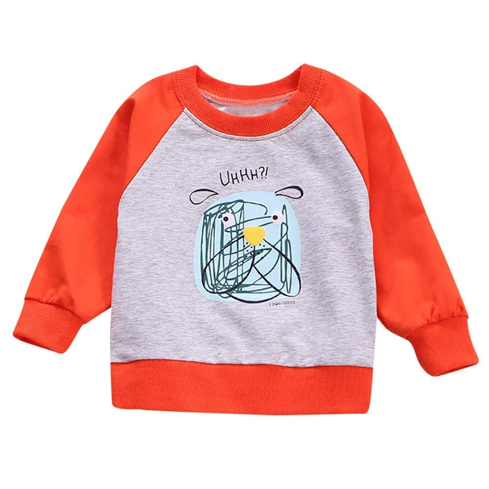 Moonper Toddler Infant Baby Girls Boys Cartoon Letter Print Long Sleeves T-Shirt Top Baby Clothes