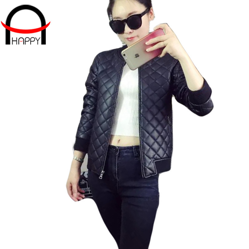 Europe and America Leather Jacket Women Zipper Full Sleeve Mandarin Collar Black PU Jacket Femme Slim Faux Leather Jacket WD1517