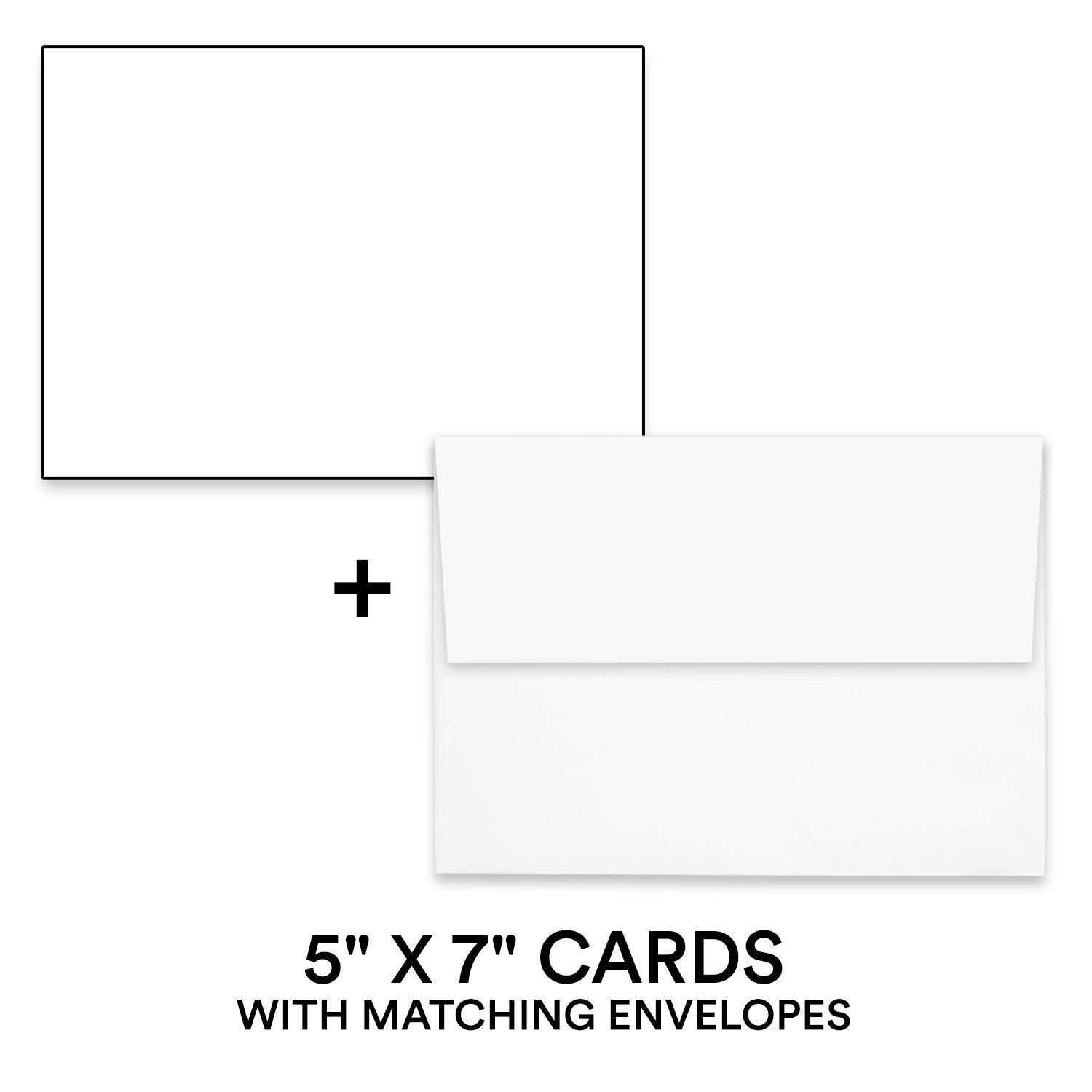 "Hamilco White Cardstock Thick Paper - 5 x 7"" Blank Index Flash Note & Post Cards with Envelopes - Greeting Invitations Stationary - Heavy weight 80 lb Card Stock for Printer - 100 Pack"