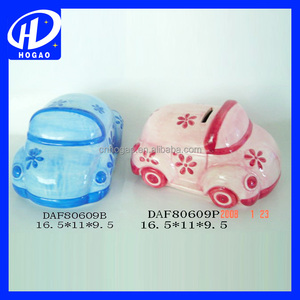 wholesale car shape ceramic piggy bank, promotional money box