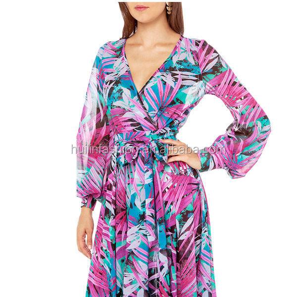 32febb7abb1d tropical print flowry maxi dress long sleeve chiffon floral print dress