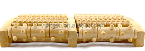hand held custom logo wooden foot massage roller