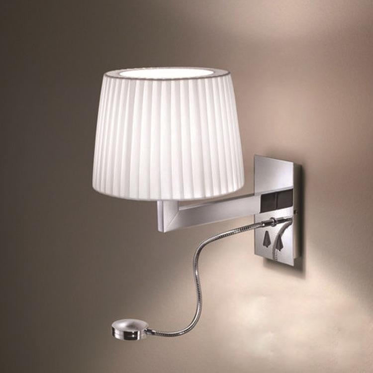 tela blanca hotel de noche luz de la paredlmpara de pared con salida y - Lamparas De Pared