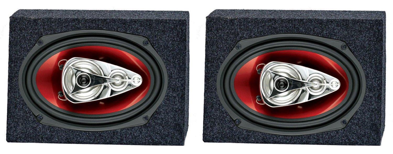 """2) Boss CH6940 6x9"""" 500W 4-Way Car Speakers + 2) QTW6X9 Angled 6x9"""" Speaker Box"""