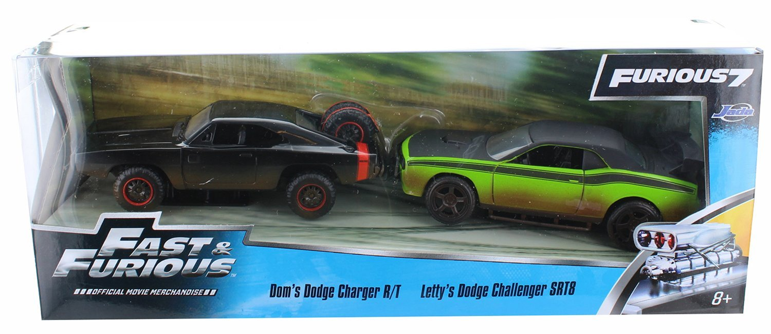 Jada Toys Fast & Furious 1:32 Twin Pack - '08 Dodge Challenger Off Road, '70 Dodge R/T Off Road, Green/Black