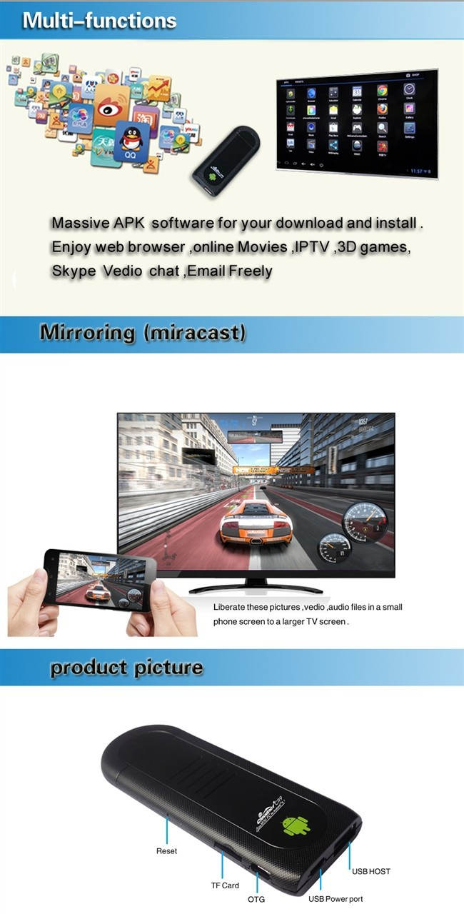 android tv stick with RAM 1GB ROM 8GB  WIFI and Bluetooth function