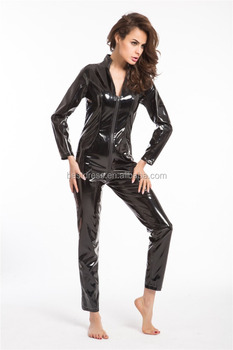 plus size sexy lingerie latex pvc leather jumpsuit sexy costume black women catsuit clubwear bodysuit pole