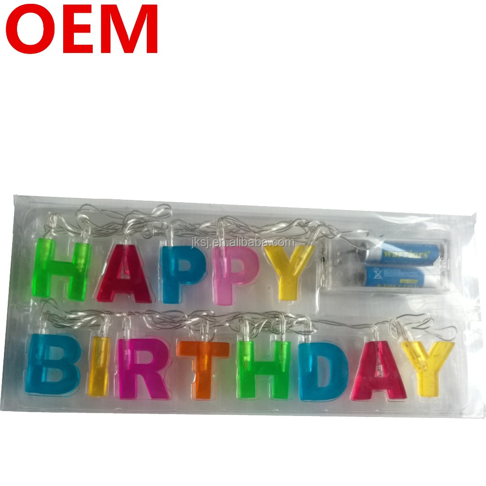 hot sale happy birthday letters string lights ,battery operated, for Indoor use