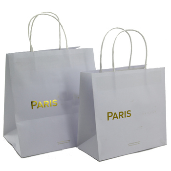 Luxury White Logo Hot Foiled Gold Paper Ping Gift Promotional Bag With Handle