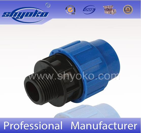 Hot-selling factory good price PP COMPRESSION FITTINGS PP MALE ADAPTOR for irrgation PE PIPE
