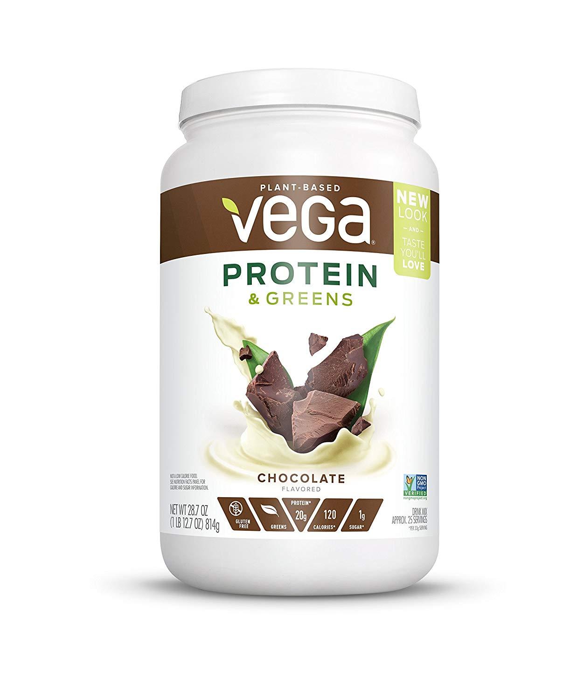 Vega Protein & Greens Chocolate (25 Servings, 1.79 lb tub) - Plant Based Protein Powder, Gluten Free, Non Dairy, Vegan, Non Soy, Non GMO
