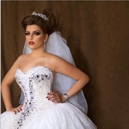 Crystal Design 2016 Wedding Dresses: Arabian Design Sweetheart Crystal Bling Bling Top Bodice