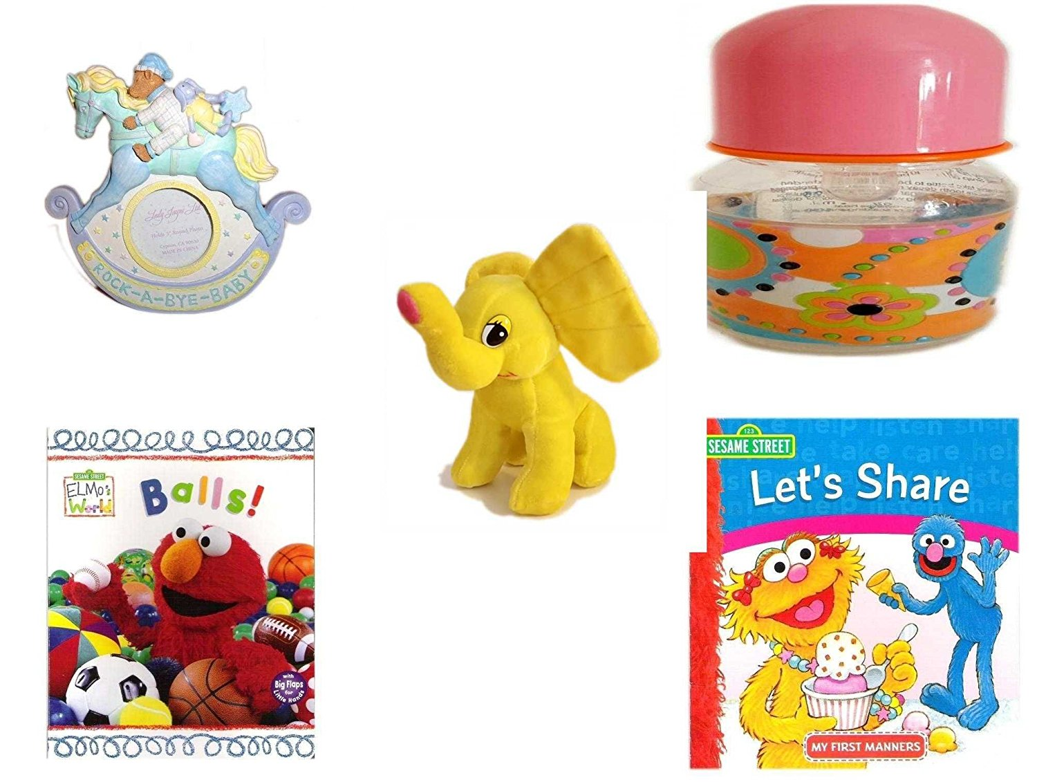 """Children's Gift Bundle - Ages 0-2 [5 Piece] - Rock-A-Bye-Baby - Rocking Horse Photo Frame 3"""" Round - ID Gear Baby Bottle Pucci Look 4 oz - Yellow Elephant Plush - Elmo's World First Flap-Book - Bal"""