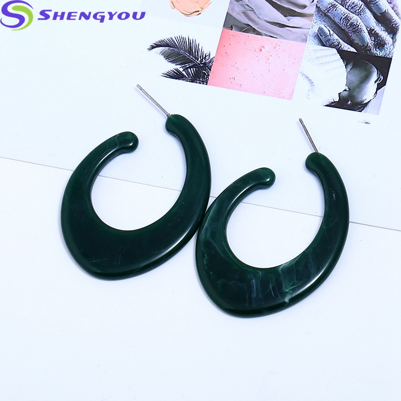 Ear Ring Design C Shape Acrylic Resin Hoop Earrings For Women