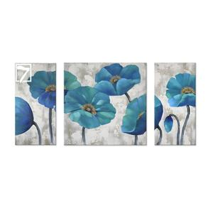 Handmade oil painting on canvas Abstract Flower 3 Panels Modern Turquoise wall art for Livingroom