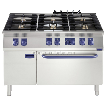 Sopas New Commercial Hotel Kitchen Equipment Freestanding 6 Burner Gas Cooking Range On Oven