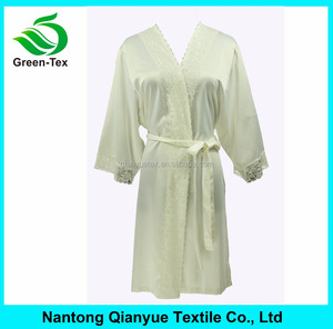 China textile Women Solid Satin bridesmaid Robe with Lace Trim