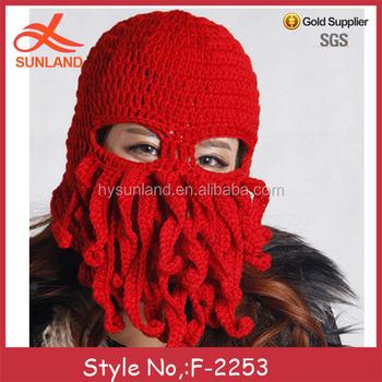 36adc041829 F-2253new handmade knit funny octopus beard hats caps crochet knight beanies  for men women