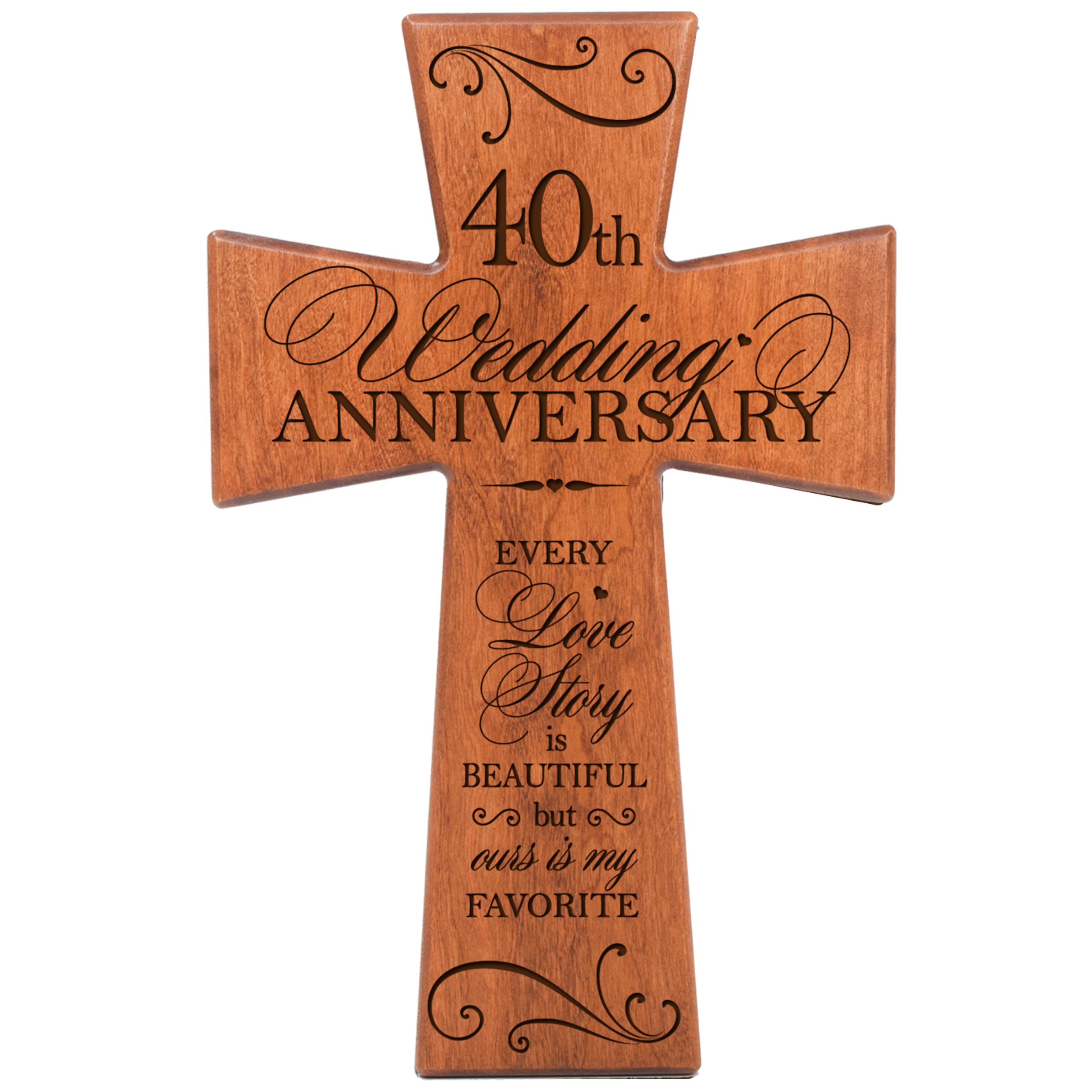 40th Wedding Anniversary Gift for Couple Cherry Wood Wall Cross, 40th Anniversary Gifts for Her