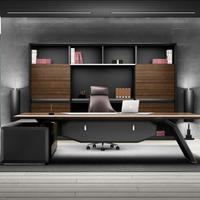 High End Modern General Manager Wood Veneer Luxurious Smart Executive Office Desk Furniture