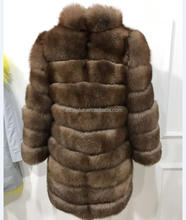 Genuine Fabric Natural fur coat women down jacket winter long section with removable sleeve and length