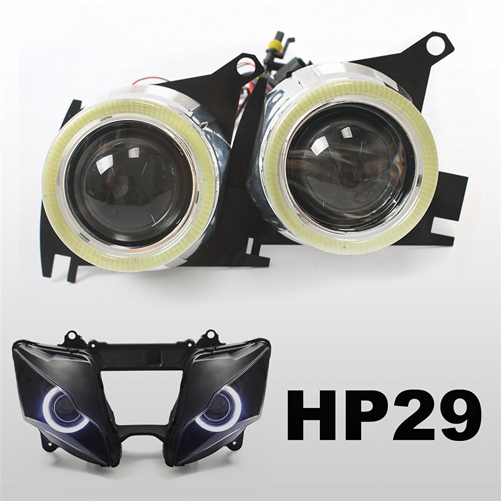 KT Tailor-Made HID Projector Kit HP29 for Kawasaki ZX-10R 2011-2015 V1 Suqare White Angel Eye