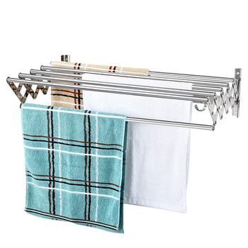 Stainless Steel Wall Mounted Retractable Towel Rack with Clothes Hook Bathroom Expandable Laundry Drying Rack Towel Shelf