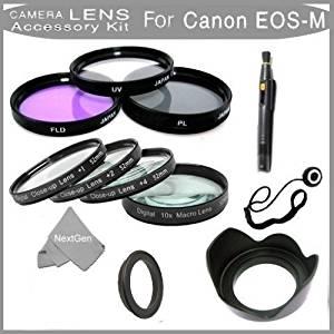 Pro 7pc Filter Kit For New Canon EOS M 18.0 MP Compact Cam(EF-M 22mm f/2 STM & EF-M 18-55mm lens)+43mm-52mm Ring Adapter+Multi-Coated 3PC Filter Kit(UV,CPL,FLD)+Close Up Kit+1+2+4+10+Lens Hood+Cloth!